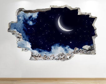 Moon And Stars Night Sky Wall Sticker 3d Look -  Sunset Boys Bedroom Lounge Z556