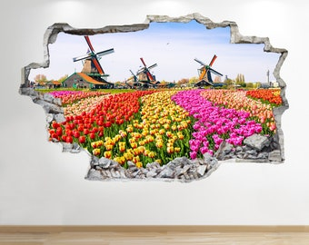 Tulip Field Wall Sticker 3d Look - Bedroom Lounge Nature Wall Decal Z707