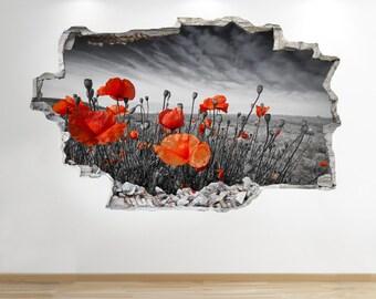 Poppy Field Wall Sticker 3d Look -  Nature Meadow Bedroom Wall Decal Z632