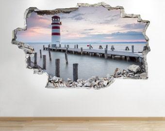 Ocean Pier Wall Sticker 3d Look - Sea Beach Sunset Bedroom Lounge Z148