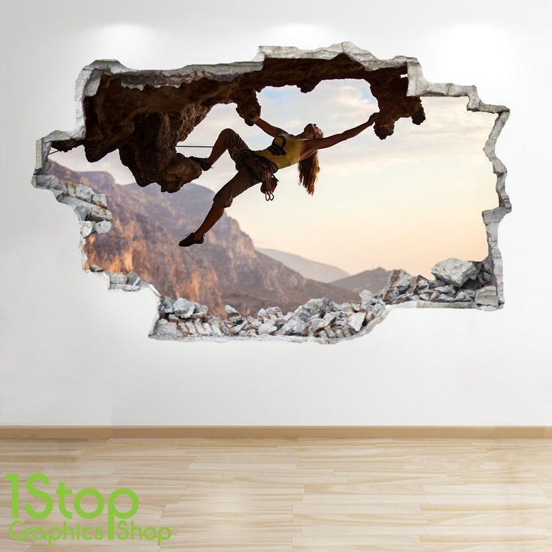 ROCK CLIMBING WALL STICKER 3D LOOK BOYS KIDS BEDROOM EXTREME SPORT DECAL Z127