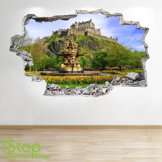 Edinburgh castle wandtattoo 3d look schlafzimmer lounge etsy for 3d wandtattoo schlafzimmer