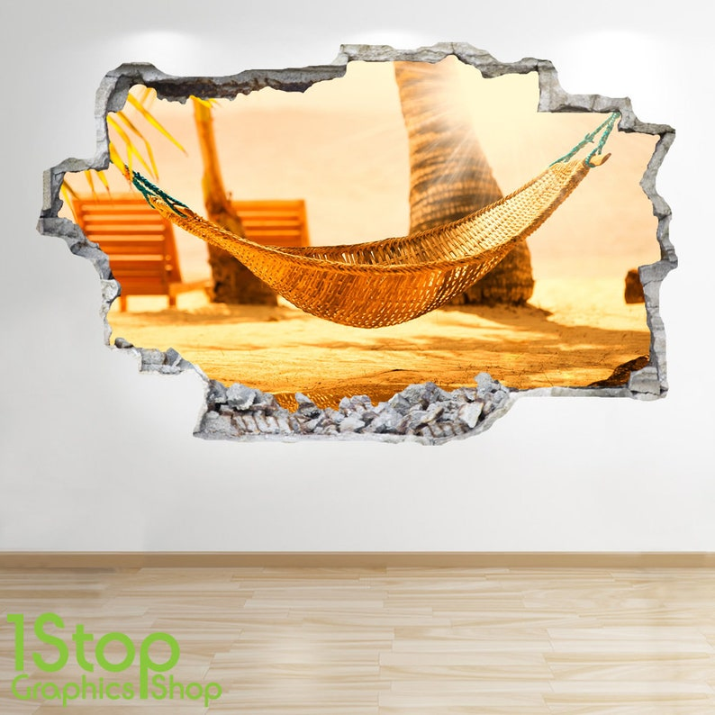 PARADISE BEACH WALL STICKER 3D LOOK OCEAN SEA BEACH BEDROOM LOUNGE Z1