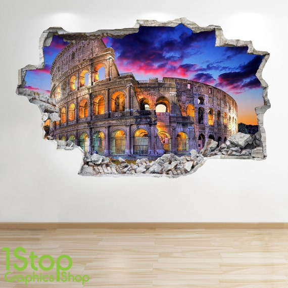 Rom wandtattoo 3d look schlafzimmer lounge colosseum city for 3d wandtattoo schlafzimmer