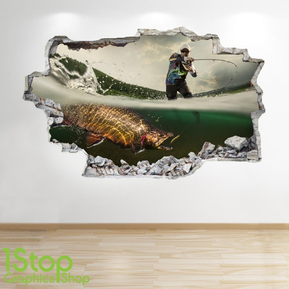 BOYS KIDS BEDROOM EXTREME SPORT WALL DECAL Z663 FISHING WALL STICKER 3D LOOK