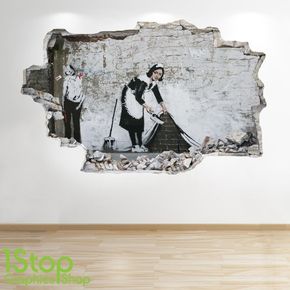 Banksy Wandtattoo 3d Look Stadt Graffiti Schlafzimmer Lounge Etsy