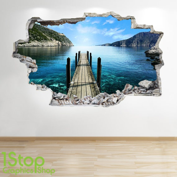 paradise beach pier wandtattoo 3d look ozean sea strand etsy. Black Bedroom Furniture Sets. Home Design Ideas