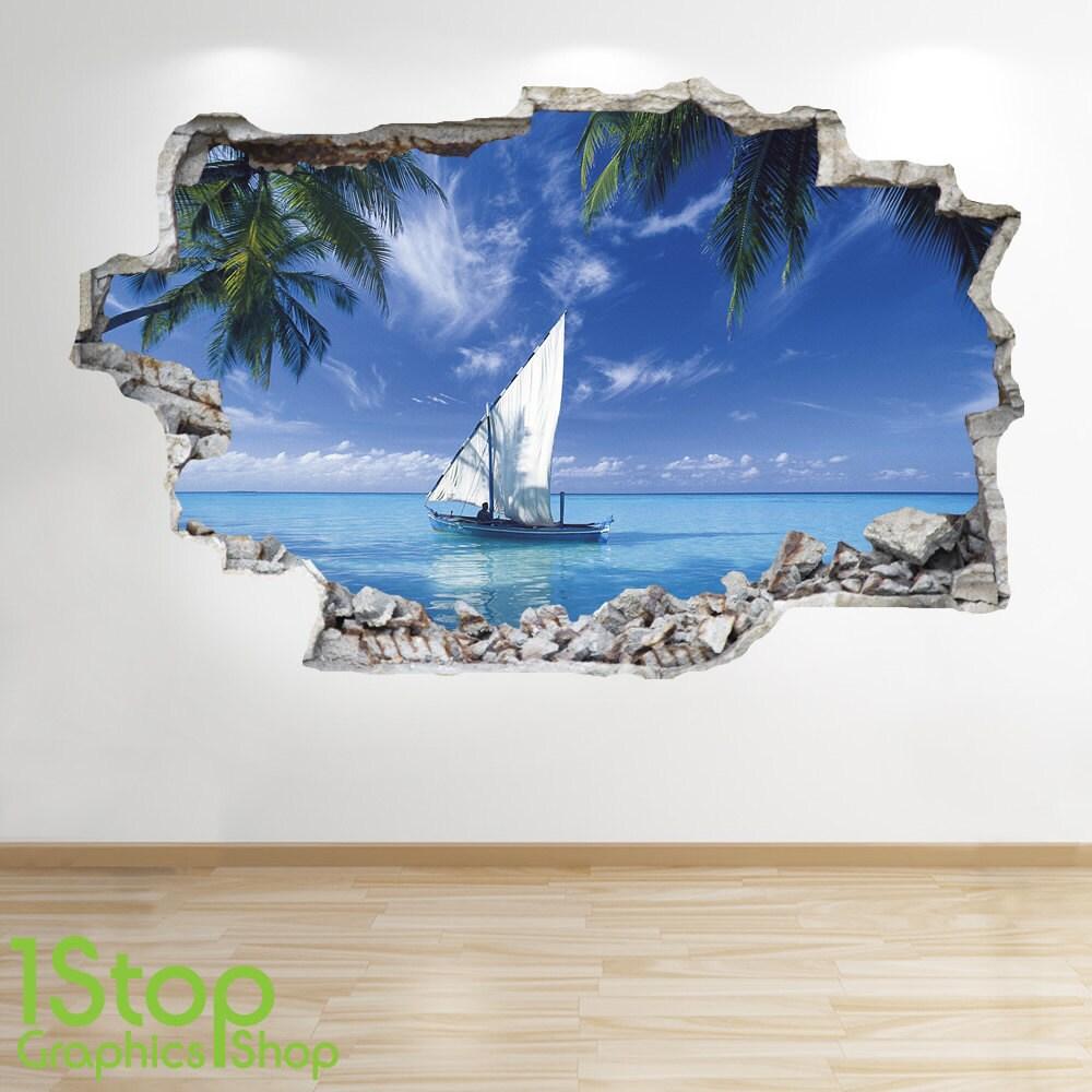 PARADISE BEACH WALL STICKER 3D LOOK OCEAN SEA BEACH BEDROOM LOUNGE Z173