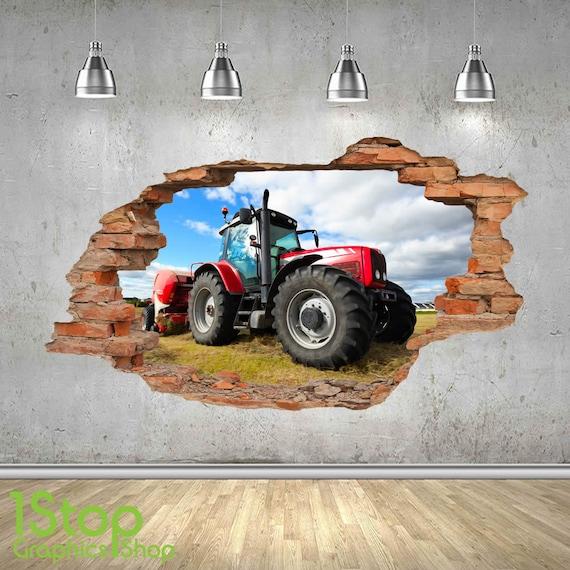 Wandtattoo Traktor 3d Look Schlafzimmer Lounge Natur Farm Etsy