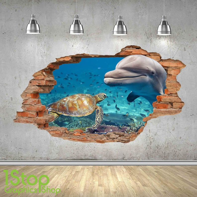 SEA TURTLE WALL STICKER 3D LOOK OCEAN TROPICAL FISH PORTHOLE BEACH Z182