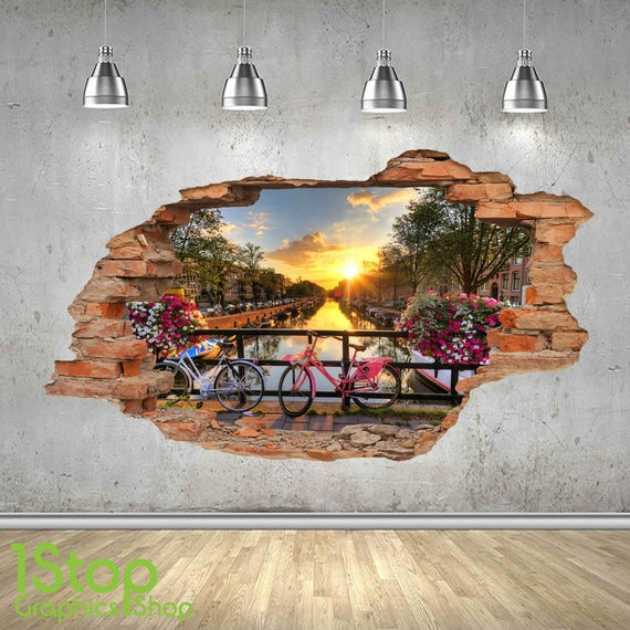 Amsterdam wandtattoo 3d look schlafzimmer lounge city wall for 3d wandtattoo schlafzimmer
