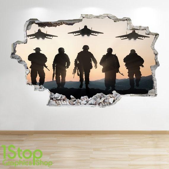 BOYS KIDS BEDROOM  ARMY WALL DECAL Z553 ARMY TANK WALL STICKER 3D LOOK