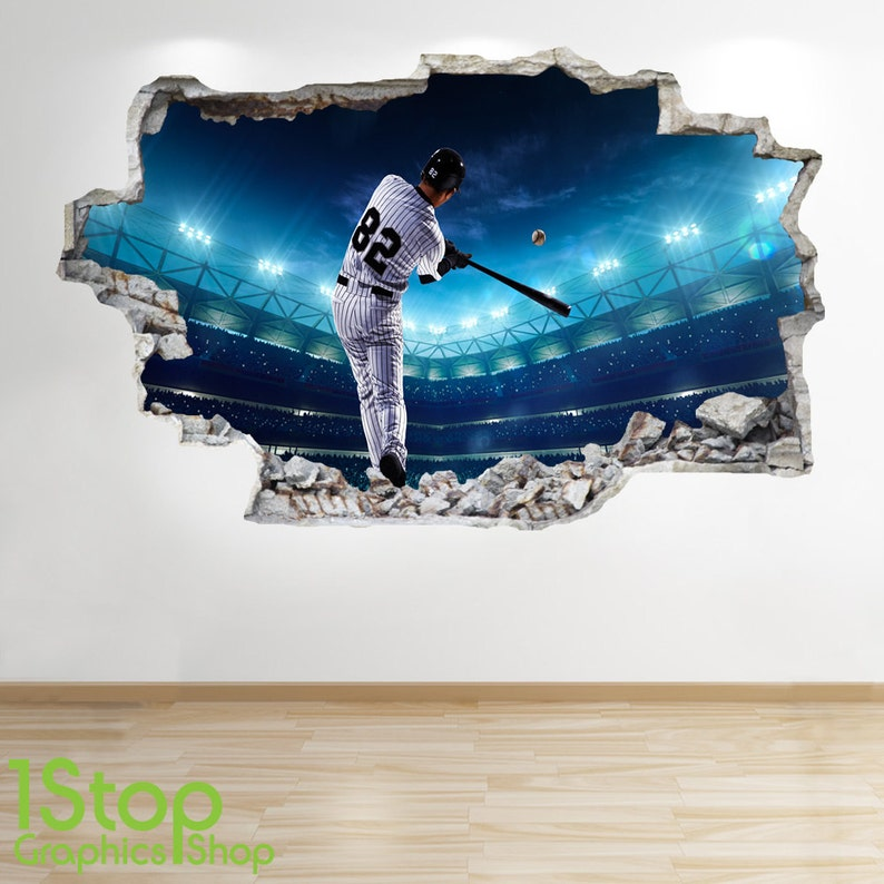 BOYS KIDS BEDROOM SPORT WALL DECAL Z289 BASEBALL WALL STICKER 3D LOOK