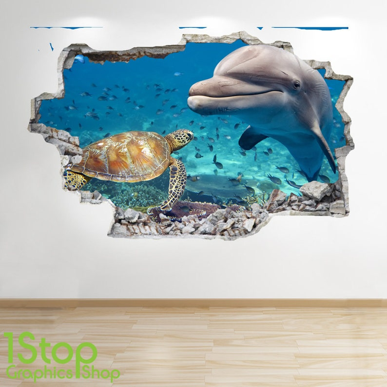 SEA TURTLE WALL STICKER 3D LOOK TROPICAL FISH PORTHOLE BEACH BEDROOM Z281