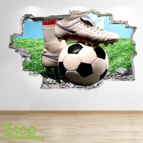 Fussball Wandtattoo 3d Look Jungen Kinder Schlafzimmer Stadion Wand Aufkleber Z549