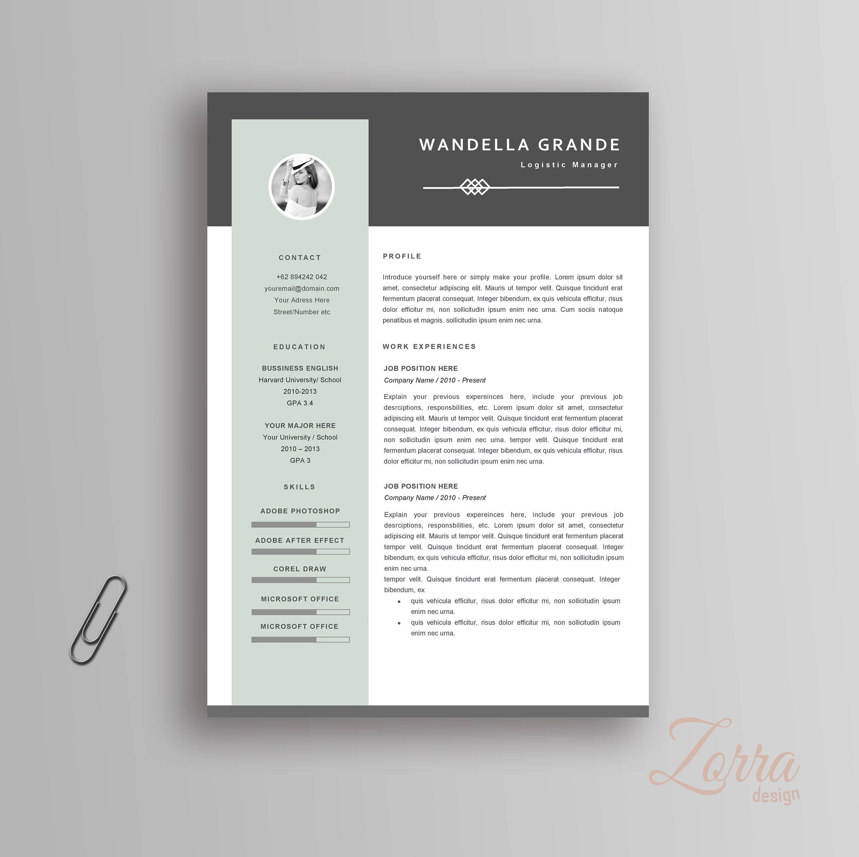 Modern Resume Template / CV For Microsoft Office Word | Pages Curriculum  Vitae + Cover Letter & Reference Letter Professional and Creative
