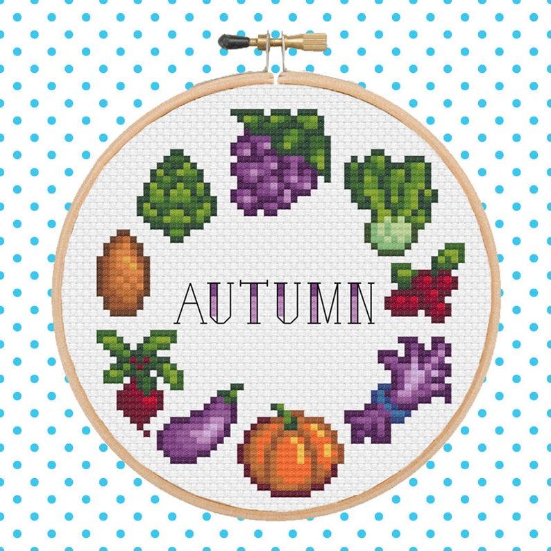 Fall Calendar Stardew.Stardew Valley Autumn Fall Crops Cross Stitch Pattern Pixel Art