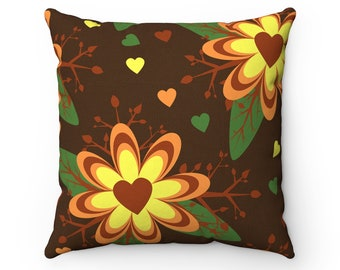 Fusion Flower Heart Decorative Square Cushion