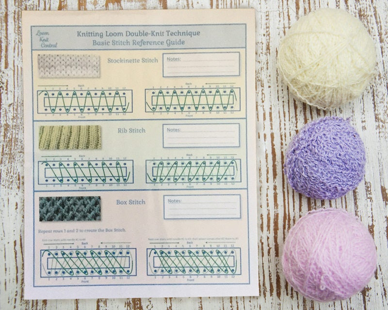 Basic Loom Knit Stitch Reference Guide Etsy