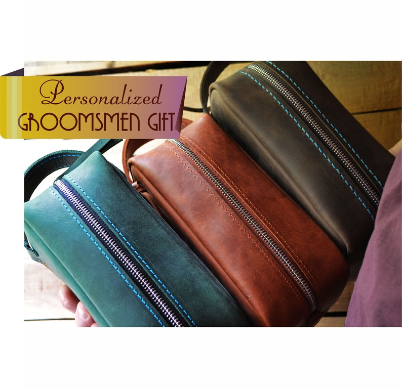 Groomsmen Gift    Leather Dopp Kit with Monogram     246b5c85c015c