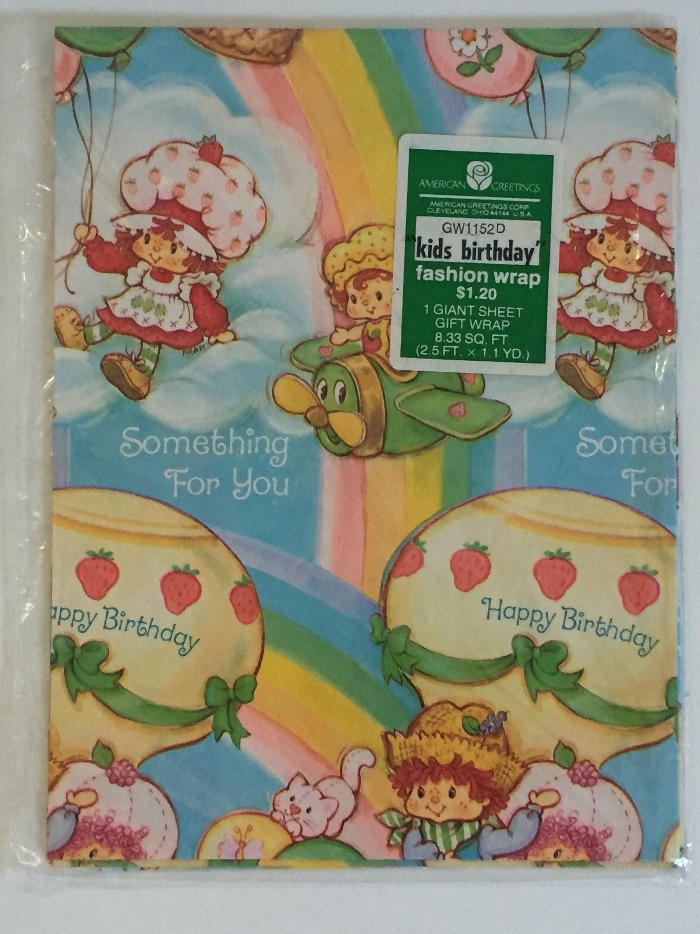 Vintage Strawberry Shortcake Wrapping Paper American Greetings Etsy