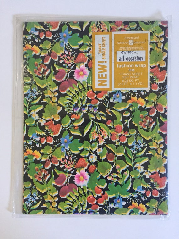American greetings vintage wrapping paper fruits flowers etsy image 0 m4hsunfo