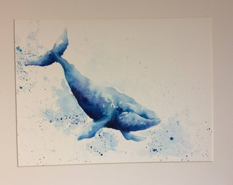 Whale print - Giclee print - watercolour - blue - A4 & A3
