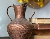 Vintage Copper Urn, Vintage Copper Vase with Handles, Etched Copper, Double Handled Boho Urn, Ornate Copper Urn, Boho Decor, Bohemian