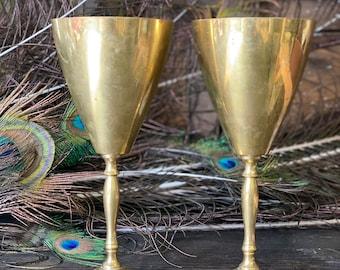 Brass Goblets, Pair of Brass Goblets, Vintage Brass Goblets, Goblets with Patina