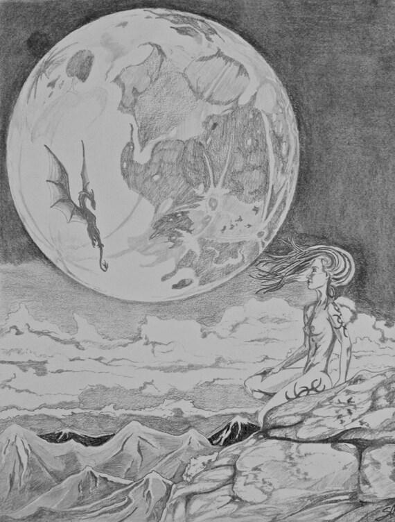 Luna Piena Bianco E Nero Disegno Disegno A Matita Di Schizzo Etsy
