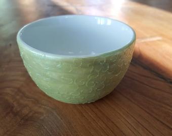 Lime green pearlescent swirls sugar bowl
