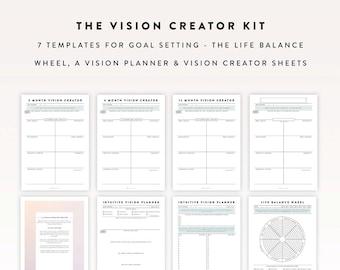 Vision Creator Kit / Goal Planner, Journal Template, Planner Sheet, Bullet Journal, Bullet Journal Sheet, Bullet Journal Printable