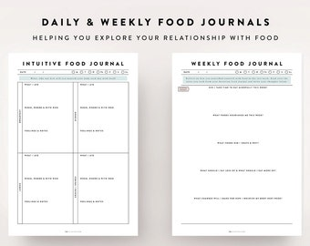 Intuitive Eating Kit / Food Journal, Food Diary, Meal Planner, Wellness Diary, Journal Template, Bullet Journal, Printable Planner