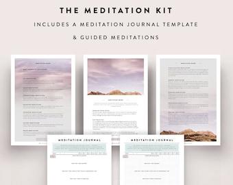 Meditation Kit / Guided Meditation, Meditation Diary, Meditation Journal, Yoga, Journal, Bullet Journal Sheet, Bullet Journal Printable