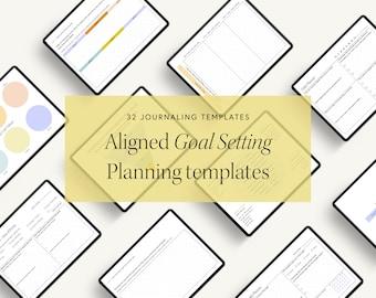 Aligned Goal Setting & Planning Templates / Minimalist Journal Template, Bullet Journal Printable, Bullet Journal, Printable Planner