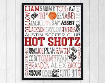 BASKETBALL COACH GIFT ~ Basketball Team Gift ~ End of Season Team Gift ~ Custom Basketball ~ Printable Basketball Digital ~ Boys Basketball