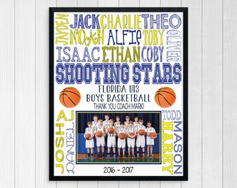 BASKETBALL COACH GIFT ~ Basketball Team Gift ~ Boys Basketball ~ Basketball End of Season Gift ~ Printable Basketball ~ Basketball Gift