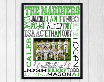 BASEBALL COACHES GIFT ~ Baseball Team Gift ~ Basebal Team Photo ~ Custom Baseball Team ~ Baseball Team Sponsor Gift ~ Printbale Baseball