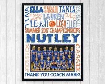 BASKETBALL COACH GIFT ~ Basketball Gifts ~ Basketball Team Gift ~ Personalized Basketball ~ Girls Basketball Team ~ Printable Basketball