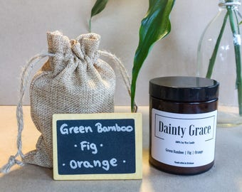 Soy Wax Candle | Green bamboo Fig and Orange