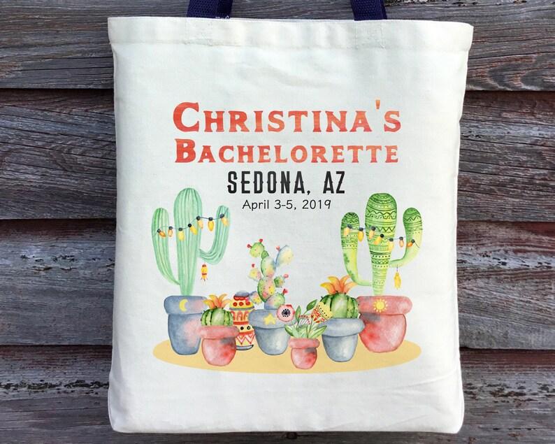 Sedona Bachelorette Personalized Bachelorette Tote Cactus Bachelorette Tote Palm Springs Bachelorette Desert Bachelorette Party Tote