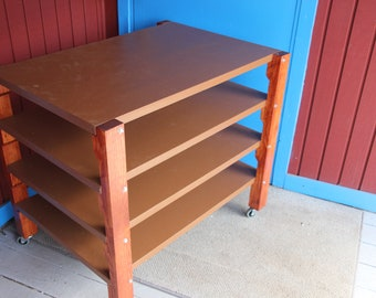 Sand tray table on wheels with 4 shelves