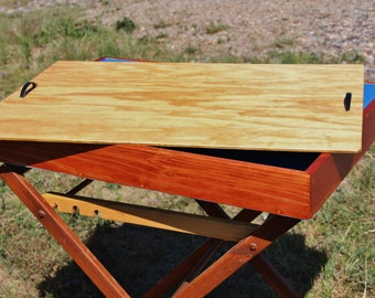 Redwood sand tray with spruce plywood cover