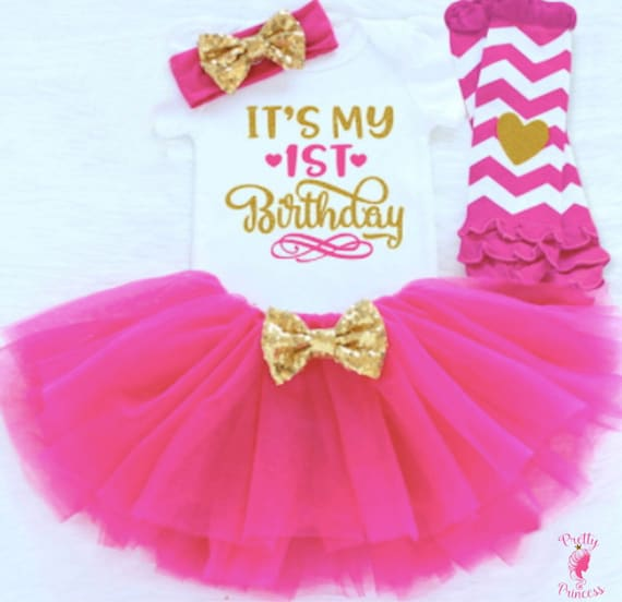 Baby Girl 1st Birthday Tutu Dress Outfit Sets Princess Cake Smash Clothes Pink