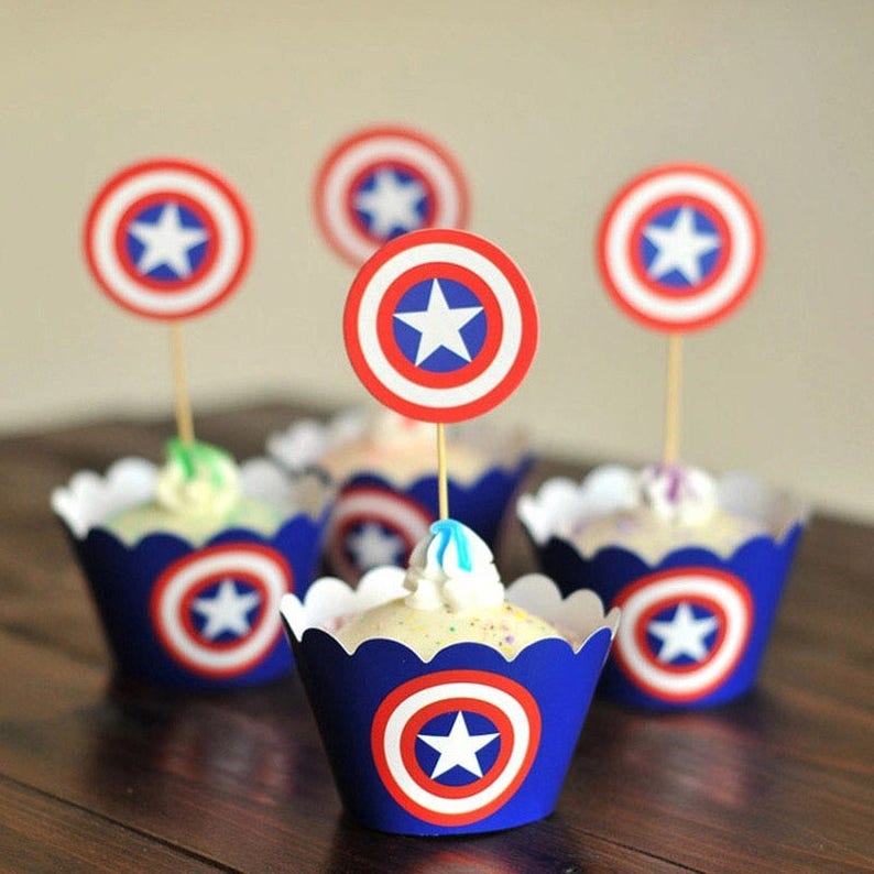 Captain America Birthday Party Cupcake Toppers And Etsy