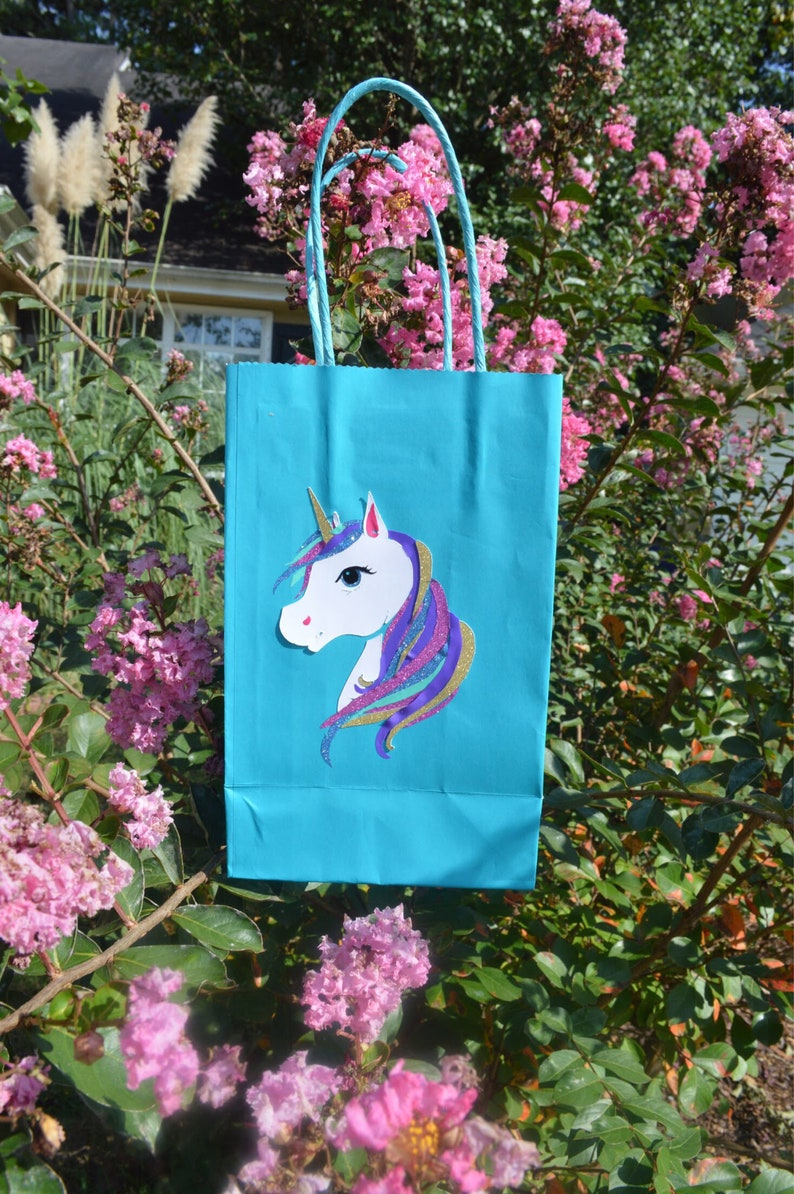 Unicorn Birthday Party Favor Bag Full Face Half