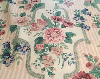 """Vintage - 5.5 Yd Remnant - 1987 Bloomcraft """"Chippendale"""" pretty pink and blue floral with stripe on Lightweight medium sheen smooth cotton"""