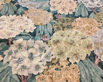"""Vintage -  Waverly """"Bravo"""" from the Tuscany collection. Large floral in white and gold on light and dark teal very smooth cotton."""