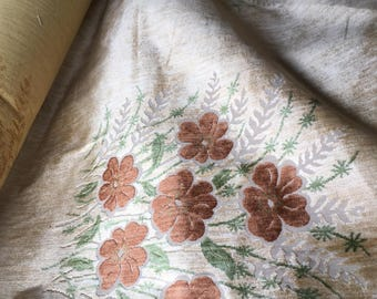 Vintage - Velour rust colored flowers on beige background