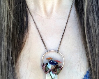 The Serpent | Mushrooms | Snake | Clear Quartz | Crystals | Gems Stones Necklace Jewerly | Spirit Animal | Faeries | Fairy | Naga